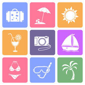 Travel icons set, flat design — Stock Vector
