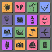 Vacation and travel flat icons — Stock Vector
