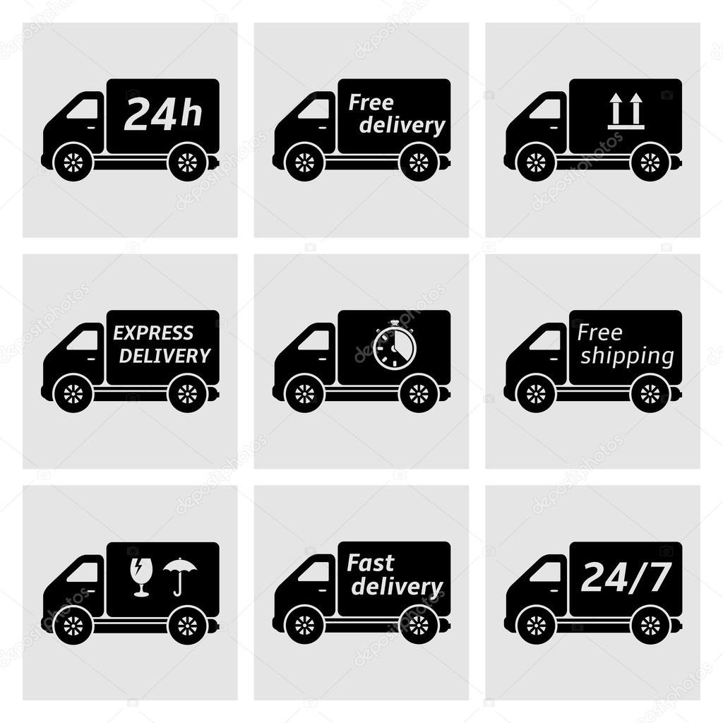 delivery car icons stock vector fad82 43528669. Black Bedroom Furniture Sets. Home Design Ideas