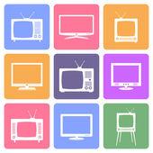 Vector TV icons set — Stock Vector