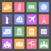 Travel & Landmarks flat icons set — 图库矢量图片