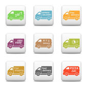 Web buttons, delivery car icons — Stock Vector
