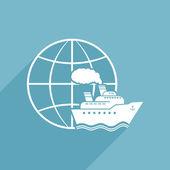 Ship & Globe Logo Sign — Stock Vector