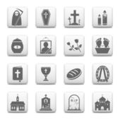 Funeral and burial icons - web buttons — Stock Vector
