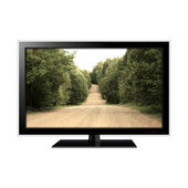 LCD monitor  with dirt road in the screen — Stock Photo