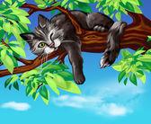 Black cat on the tree — Stock Photo