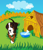 The puppy on the grass around the booth — Stock Vector