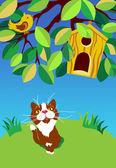 Gato sentado mirando el pájaro — Vector de stock