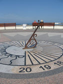Sundial on the waterfront — Stock Photo