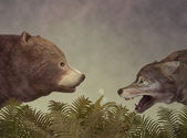 Wolf and Bear. Dialogue. — Stock Photo