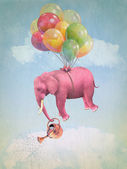 Pink elephant in the sky — Stockfoto