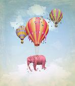 Rosa elefanten in den himmel — Stockfoto