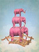 Three pink elephants in the sky — Stock Photo