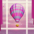 Air balloon in sky outside window — Stock Photo #33241271