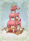 Three Christmas pink elephants in the sky with gifts — Stock Photo