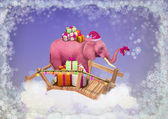 Pink elephant in the sky with Christmas boxes. — Stockfoto