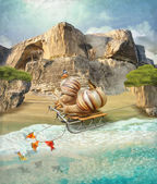 Snails on vacation — Stockfoto