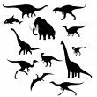 Silhouettes of prehistoric animals - Stock Vector