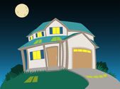 Sweet house at night — Stock Vector