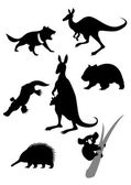 Silhouettes of australian animals — Stock Vector