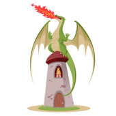 Dragon with the princess in the rower — Stock Vector