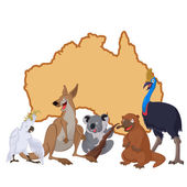 Australia with cartoon animals — Stock Vector