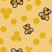 Seamless pattern with bees — Vector de stock