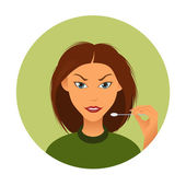 Woman and ear sticks — Stockvector