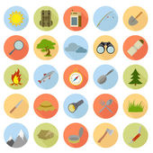 Flat icons of camping — Stock Vector