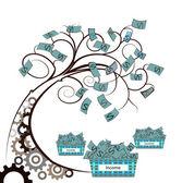 Dişli ile para ağacı — Stok Vektör