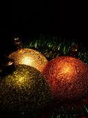 Christmas balls on dark background — Stock Photo