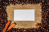 Coffe frame with visiting card in it — Stock Photo