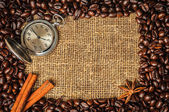 Coffe frame with clock, cinnamon and star anise — Stock Photo