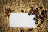 Visiting card with coffe and star anise — Stock Photo
