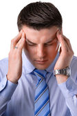 A young businessman headaches — Stock Photo