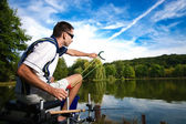 Sport fishing on a beautiful lake — Stock Photo