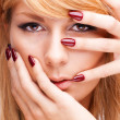Portrait of cute blonde woman with perfect manicure — Stock Photo