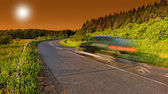 Higway with car motion blur — Stock Photo