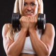 Woman dumbbells exercises — Stock Photo