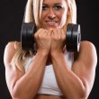 Woman dumbbells exercises — Stock Photo #31659445