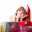 Portrait of beautiful sexy girl with gift boxes, copyspace — Stock Photo #32312757