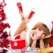 Portrait of beautiful sexy santa girl  — Stock Photo