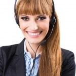 Call center operator woman — Stock Photo