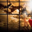 Woman at the airport window — Stock Photo