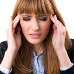 Stressed and depressed businesswoman — Stock Photo