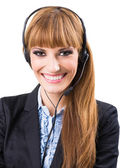 Call center operator woman — Stock Photo