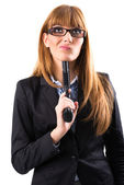Woman holding gun at herself — Stock Photo