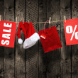 Christmas SALE on wood background — Zdjęcie stockowe