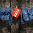 图库照片: Jeans, sale inscription on clothesline
