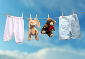 Clothes drying on the rope — Stock Photo